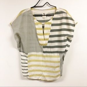 One September ANTHRO Striped Blouse Yellow